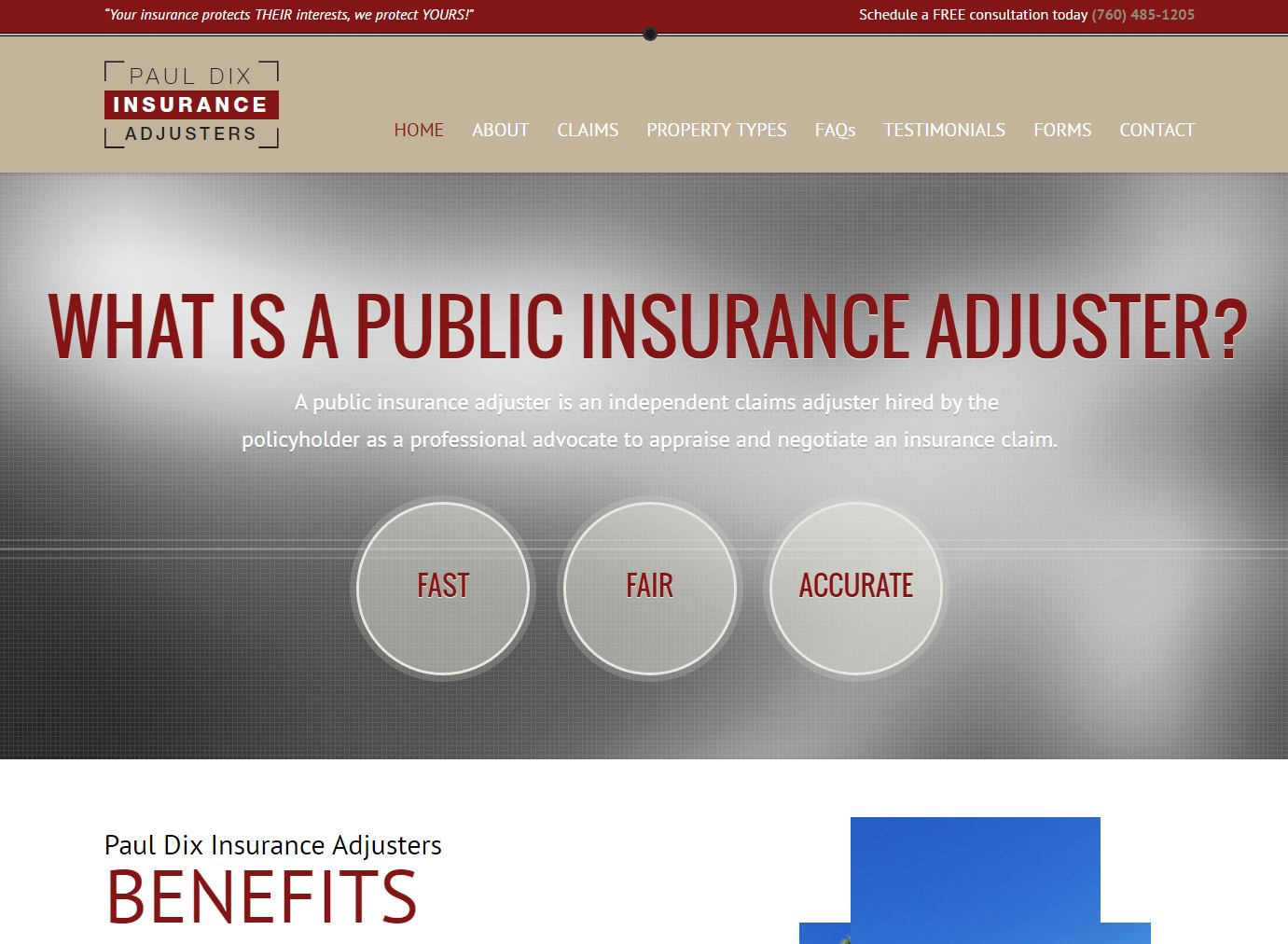 Insurance Adjuster Website Design pda1