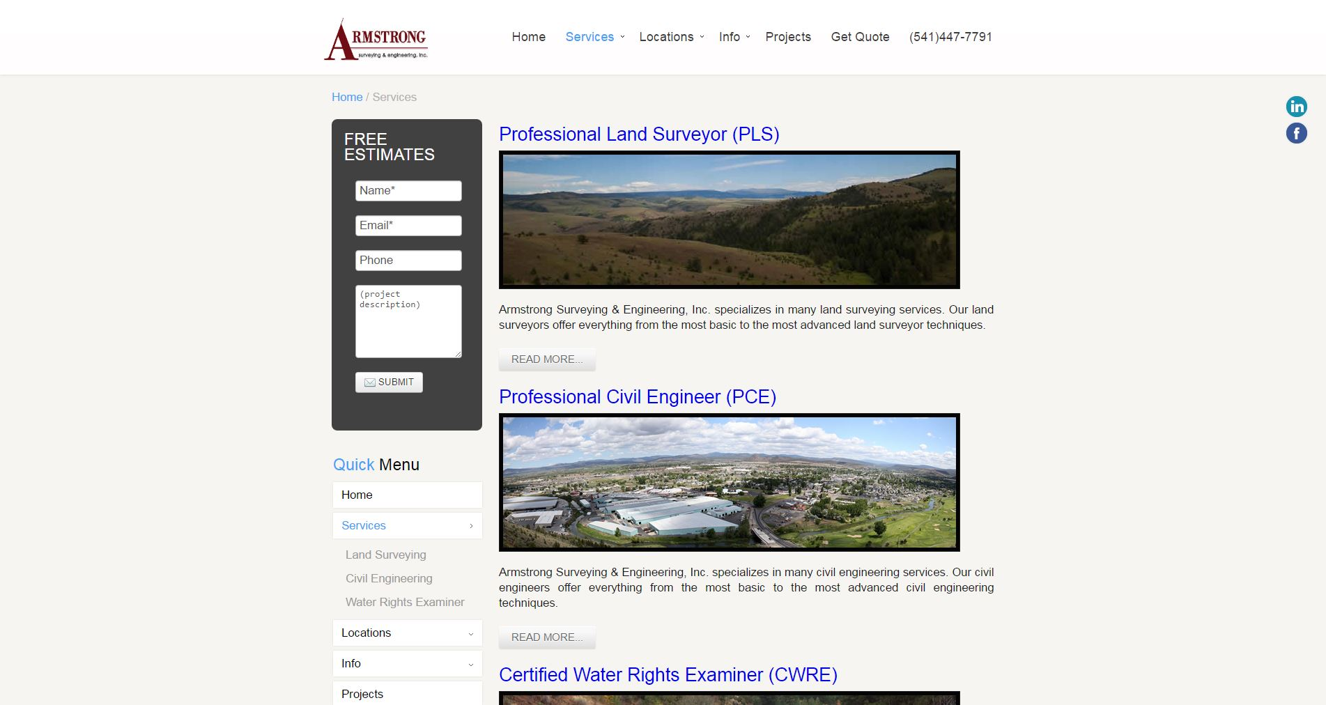 Land Surveyor Website Design ase2