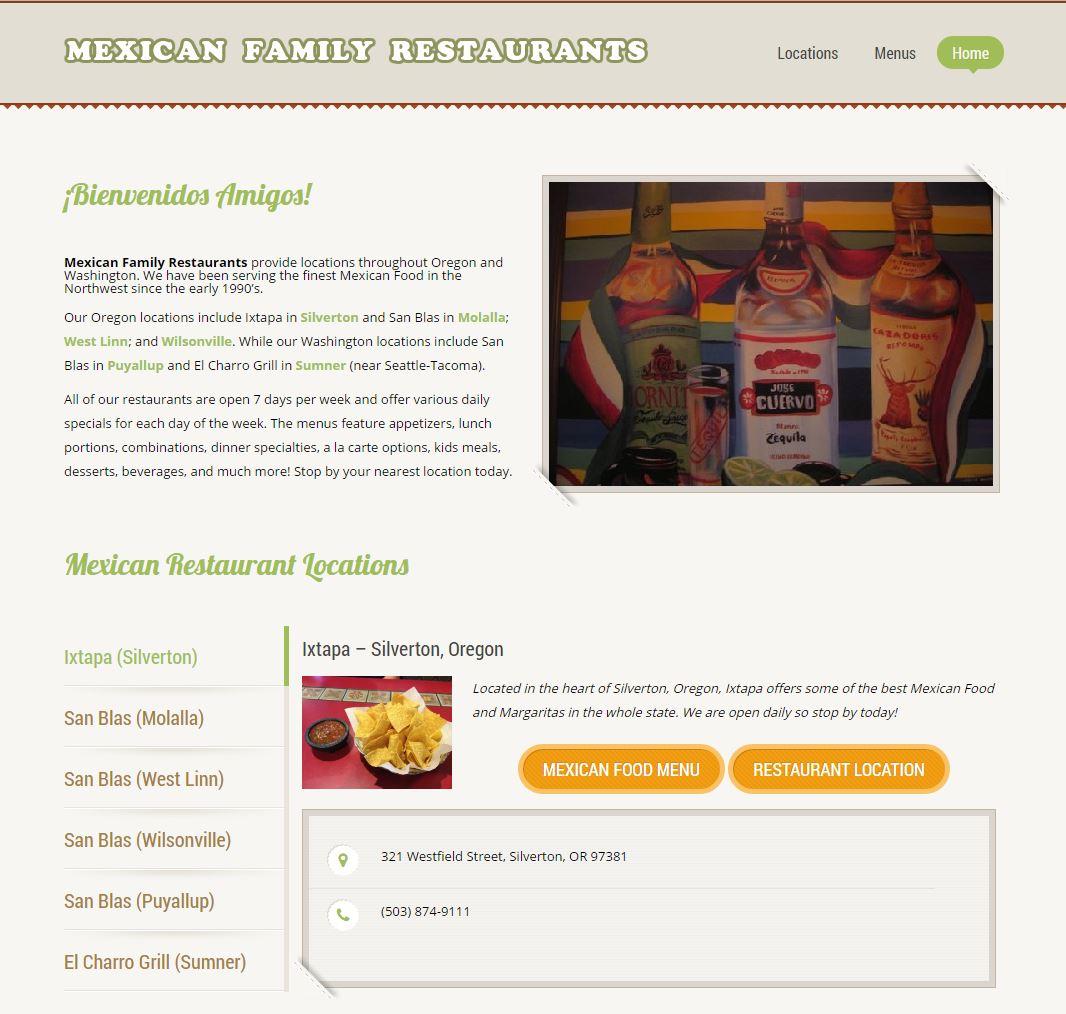 Ixtapa mexican food seo web design llc for Cuisine website