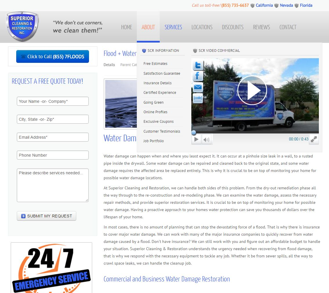 Water Damage Website Design scr3