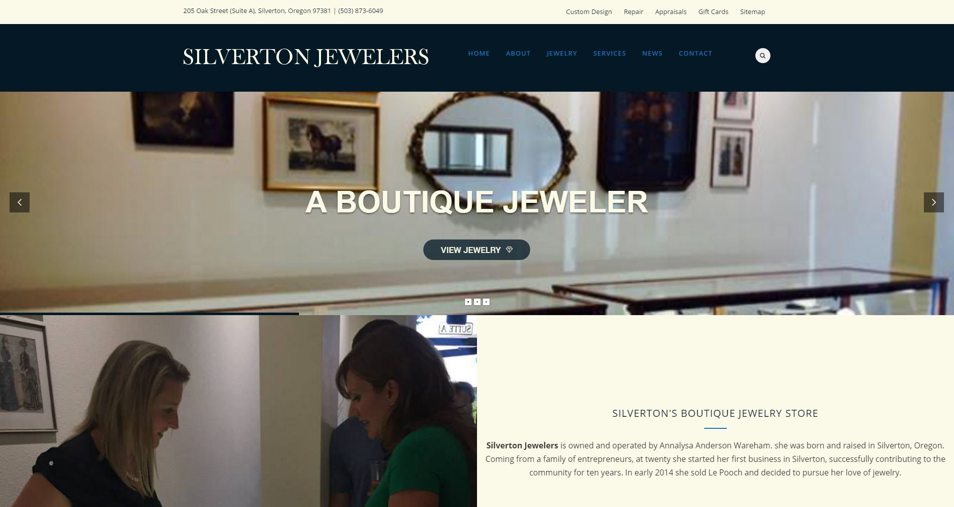 Jewelry Website Design sj1