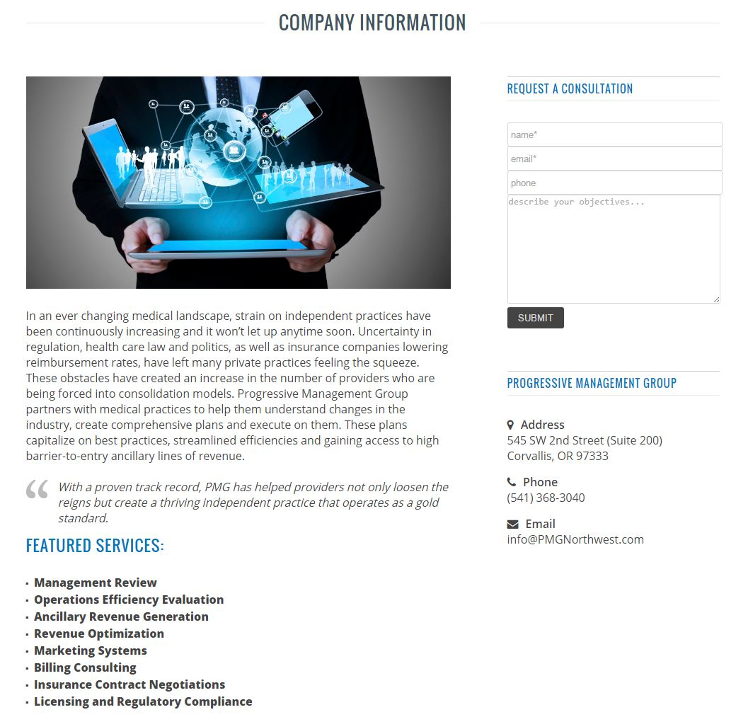 Medical Business Management Website Design pmg2