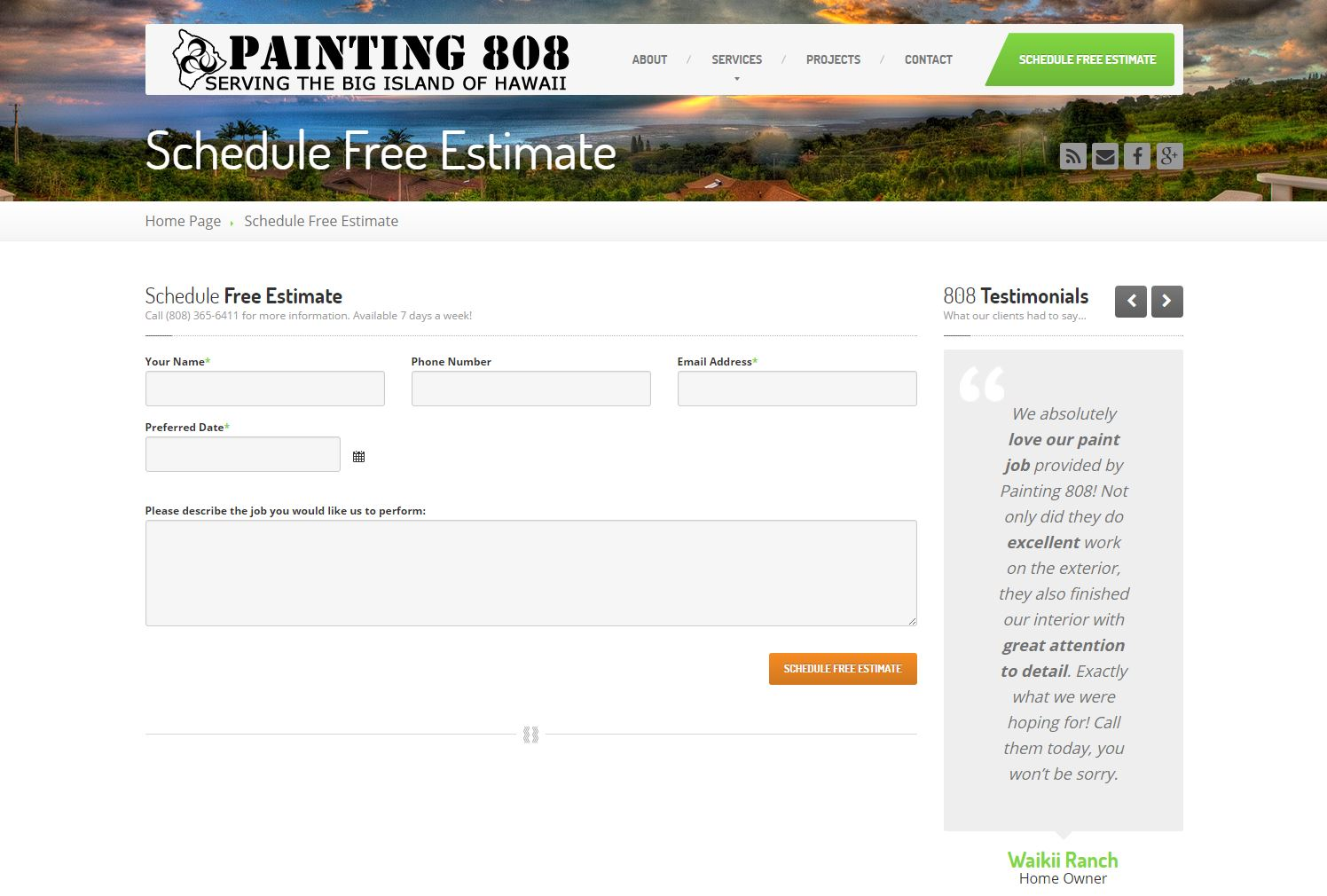 Painting Contractor Website Design p808b