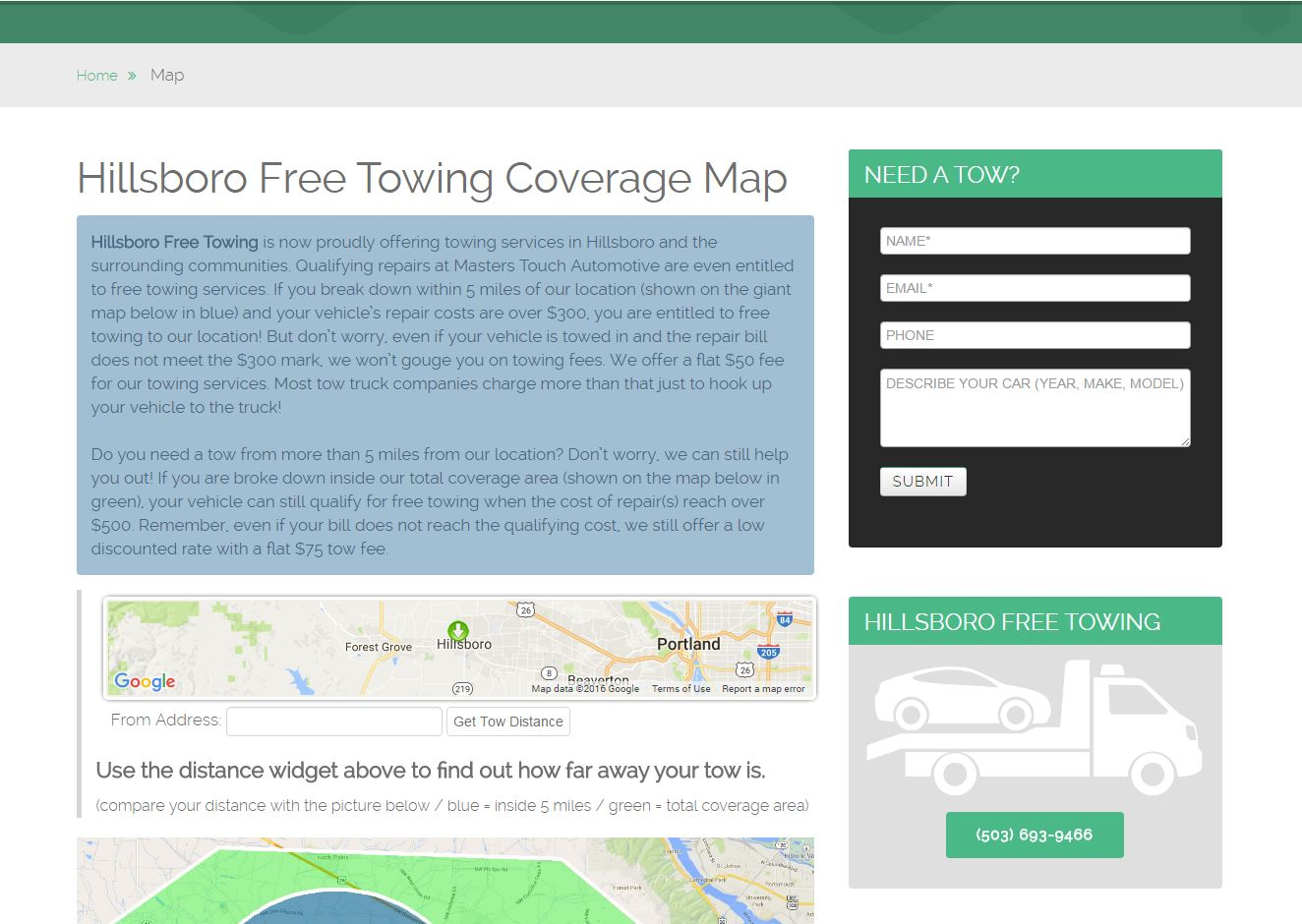Towing Website Design hft2