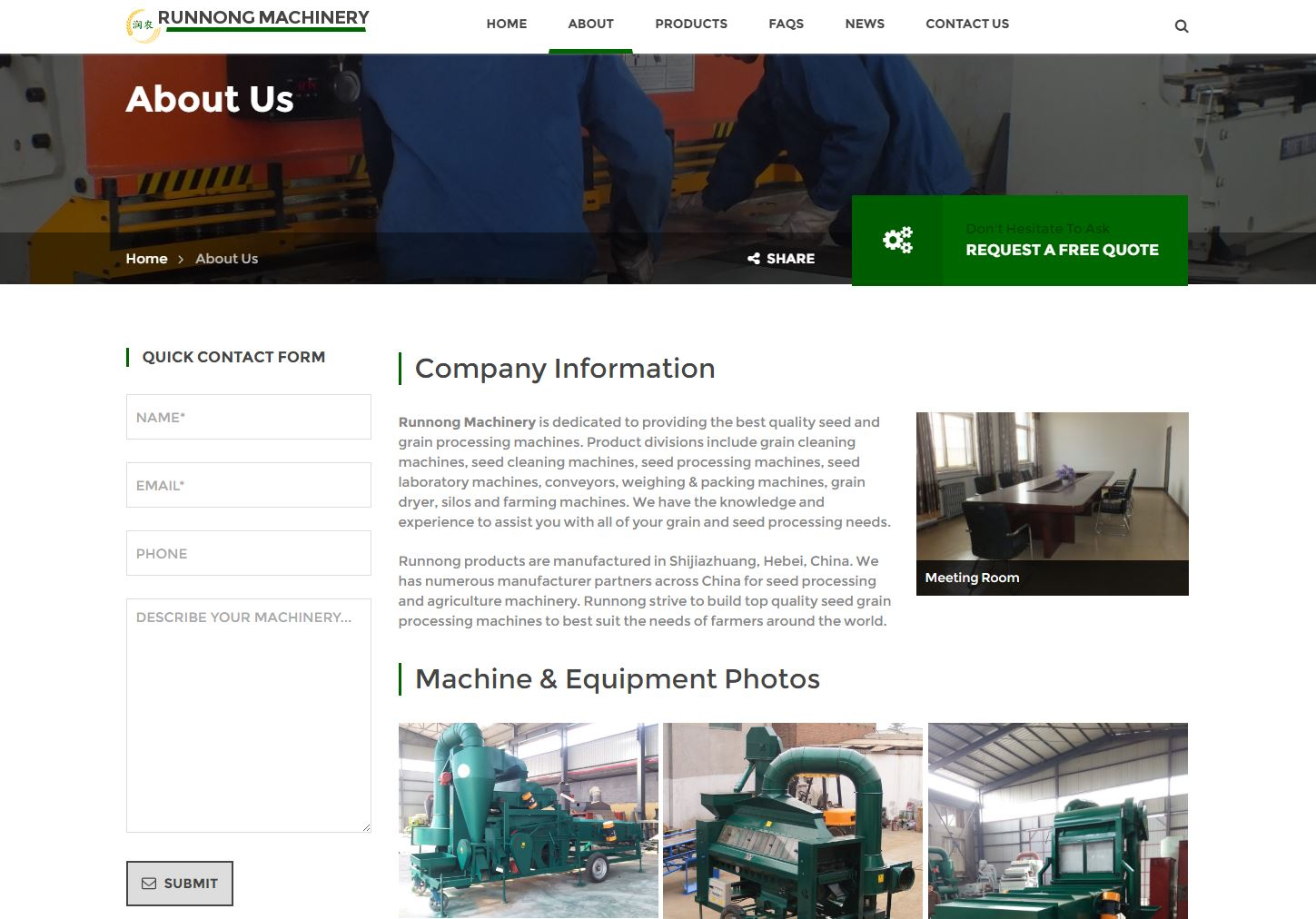 Runnong machinery seo web design llc for Industrial design sites