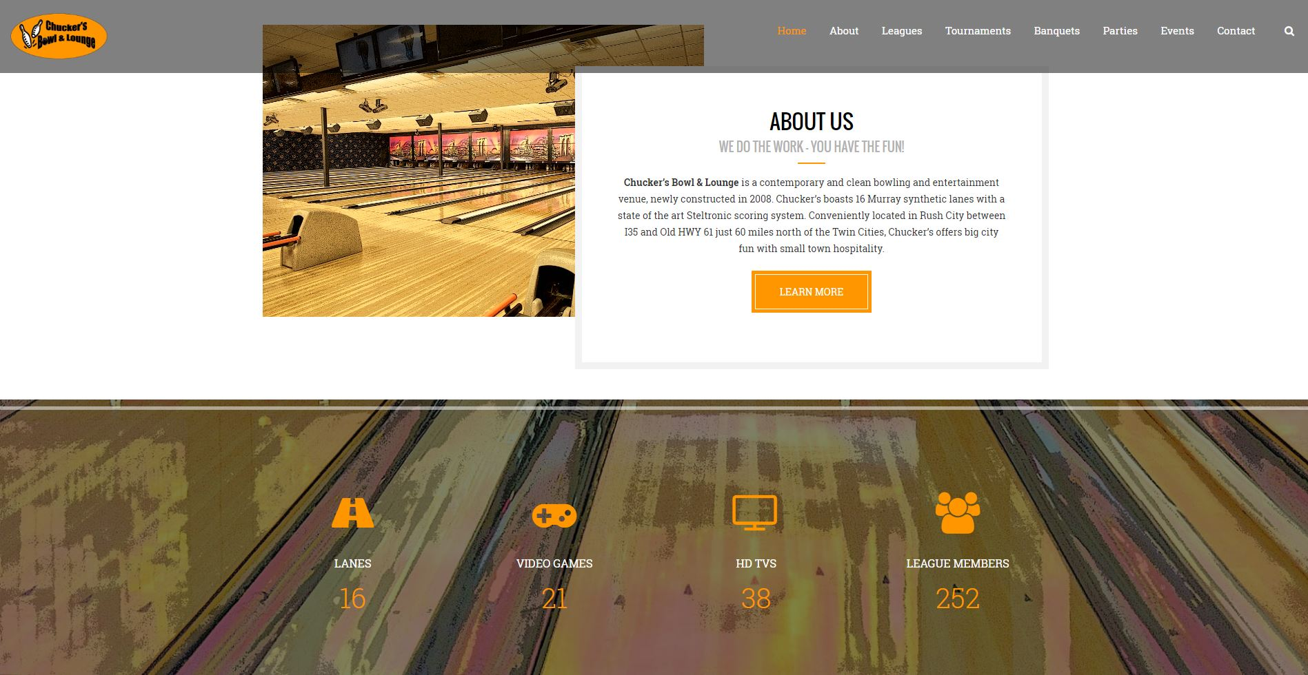 Bowling Entertainment Website Design cbl2