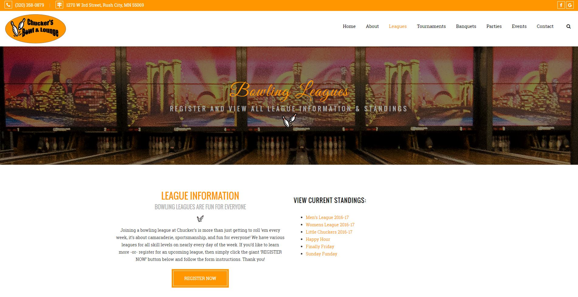 Bowling Entertainment Website Design cbl3