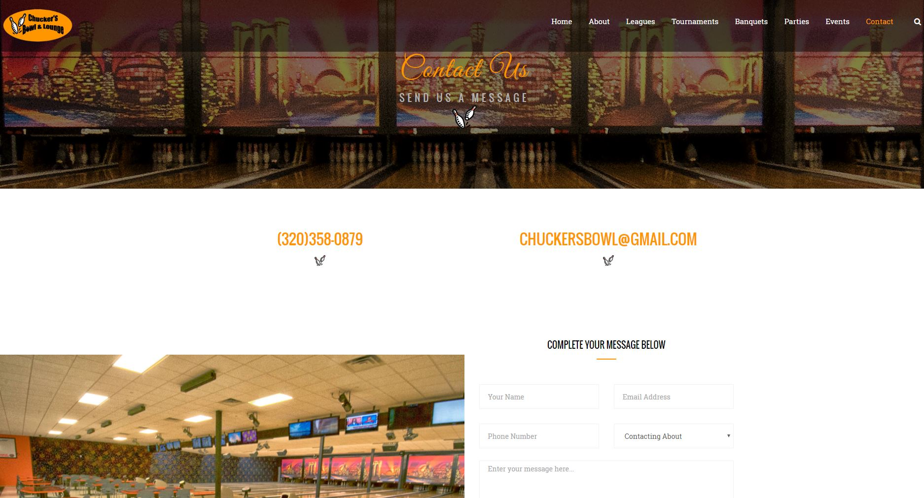 Bowling Entertainment Website Design cbl5